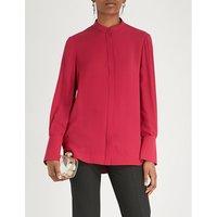 Mandarin-collar silk-crepe shirt