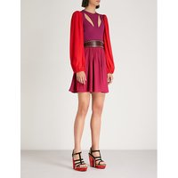 Balloon-sleeve knitted and crepe dress