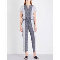 Geometric-print stretch-silk jumpsuit