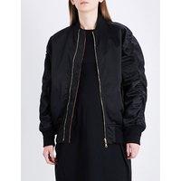 Balenciaga Ladies Noir Exposed Zip The Bomber Satin Jacket, Size: 6