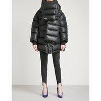 Balenciaga Ladies Noir Outspace Shell Puffer Jacket, Size: 8