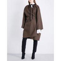 Balenciaga Ladies Noir Robe Wool-Blend Coat, Size: 8