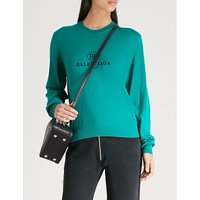 Balenciaga Ladies Green Logo-Embroidered Wool Jumper, Size: 6
