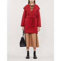 Max Mara Ladies Red Patch Pocket Luxury Rialto Hooded Camel Hair Coat, Size: 10