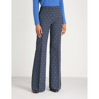Gioire logo-embroidered wide-leg high-rise woven trousers