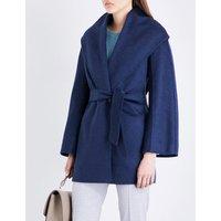 Max Mara Ladies Blue Luxurious Paglie Cashmere Wrap Coat