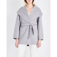 Max Mara Ladies Grey Luxurious Paglie Cashmere Wrap Coat, Size: 12