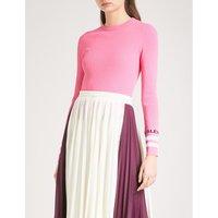 Striped ribbed-knit jumper