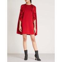 Ruffled satin-crepe cape dress