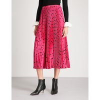 Heart-print pleated silk-crepe skirt