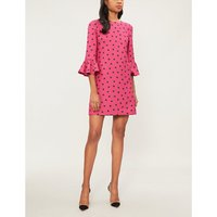 Heart-print wool and silk-blend dress