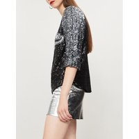 Logo-appliquéd sequinned top