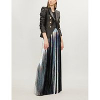 Holographic pleated woven maxi skirt