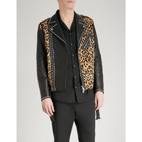 Leopard-print leather jacket