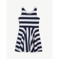 Sleeveless stripe print ponte dress S-XL