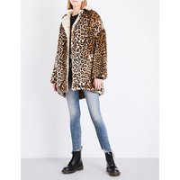 R13 Ladies Leopard Classic Faux-Fur Coat, Size: S