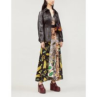 Patchwork floral-print silk midi dress