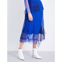 Contrast-panel high-rise lace skirt