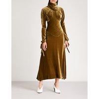 High-neck velvet dress