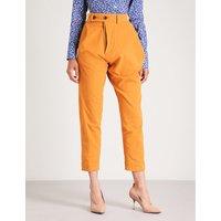 Alcoholic straight high-rise velvet trousers