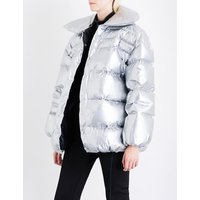 Off-White C/O Virgil Abloh Ladies Grey Oversized Metallic Puffer Jacket, Size: 8