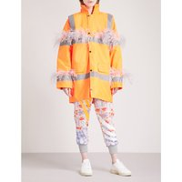Marabou feather-trim padded woven parka coat