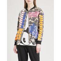 Geometric-print sequinned bomber jacket