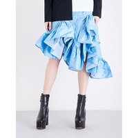 Asymmetric ruffled tafetta midi skirt