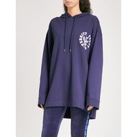 Logo-embroidered lace-up cotton-blend hoody