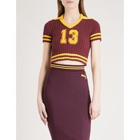 Logo-patch cotton-blend cropped top