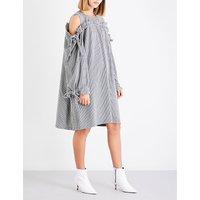 Cold-shoulder houndstooth woven dress