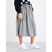 Houndstooth-pattern high-rise woven skirt