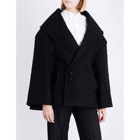 Jacquemus Ladies Black Le Caban Oversized Wool Coat, Size: 8