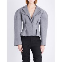 Jacquemus Ladies Light Grey Pleated Button fastening Le Petite Wool-Blend Jacket, Size: 6