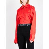 Double-cuff silk-satin shirt