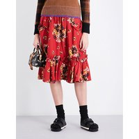 Daisy Bouquet Ruffled woven midi skirt