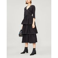 Cleo tiered woven midi dress