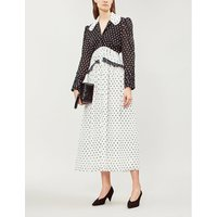Yvette polka-dot crepe midi dress