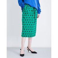 Ziggy lightning-print silk skirt