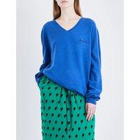 V-neck wool and cashmere-blend jumper