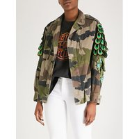 Camouflage-print peacock cotton jacket