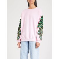 Peacock-embroidered cotton-jersey sweatshirt
