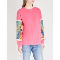 Printed-sleeve cotton-jersey sweatshirt