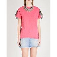 Appliquéd distressed cotton T-shirt