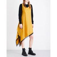 Asymmetric satin slip dress