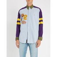 Unisex badge patch regular-fit cotton shirt