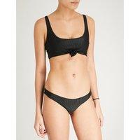 Frankies Bikinis Black Greer Scoop-Neck Bikini Top, Size: L