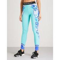 Geometric-print stretch leggings