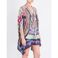 Camilla Ladies Blue&Green Square Bohemian Lace-Up Silk-Crepe Kaftan, Size: 1 Size