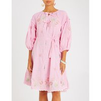 Floral-embroidered cotton shirt dress